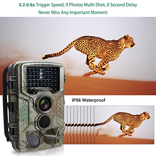 """FLAGPOWER Trail Camera 16MP 1080P Hunting Game Camera with Night Vision Motion Activated IP66 Waterproof 120°Detecting Range Motion Activated Night Vision 2.4"""" LCD IR LEDs 32 GB Memory Card"""