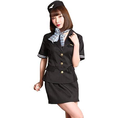 [ブライトララ] ハロウィン コスプレ 制服 コスチューム 仮装 キャビンアテンダント 衣装 客室乗務員