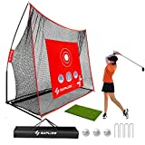 SAPLIZE Golf Net with Hitting Mat and Target Sheet, High Impact Golf Hitting Net, Portable 10x7ft Golf Practice Net for Indoor/Outdoor/Backyard Driving