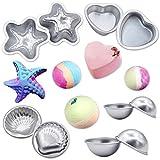 Set de moldes para bomba de baño, forma de 2 conchas, 6 hemisferios, forma de corazón 2, forma de 2 estrellas de mar, molde de jabón para pastel DIY