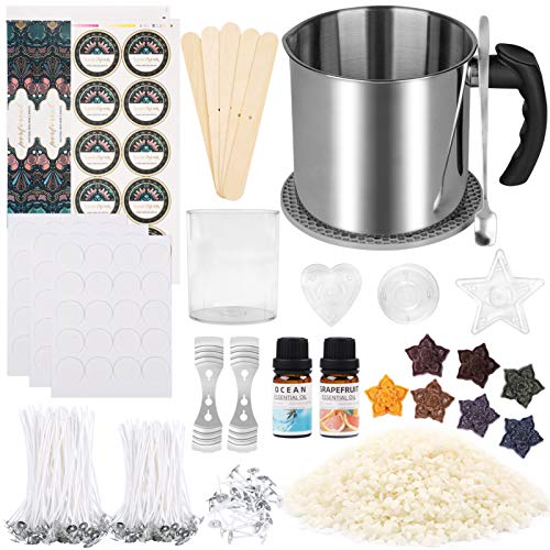 Candle Making Kit, DIY Candle Making Kit for Beginners, Candle Making Supplies Kit Including Wax, Rich Dyes, Wicks, Melting Pot, Tins & More