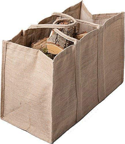 Rustieke brandhout koffer jute, houten draagtas, open haard houten tas 65 cm.