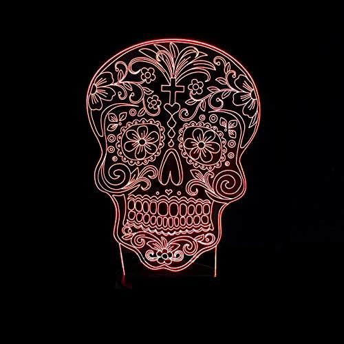 DKee Lámparas de mesa La Cruz Del Cráneo De La Lámpara LED De Colores Gradiente 3D Estereoscópica Táctil USB Remoto De Escritorio Luz De La Noche De Noche Decorada Con Imaginación Regalo De Cumpleaños