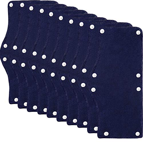 Cotton Hard Hat Sweatband Reusable Terry Cloth Snap-On Sweatband Liner Washable Hard Hat Accessories (Blue-10pieces)