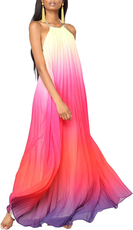 Paintcolors Women's Casual Halter Sleeveless Pleated Long Maxi Dress Backless Loose Ombre Summer Beach Chiffon Flowy Sundress