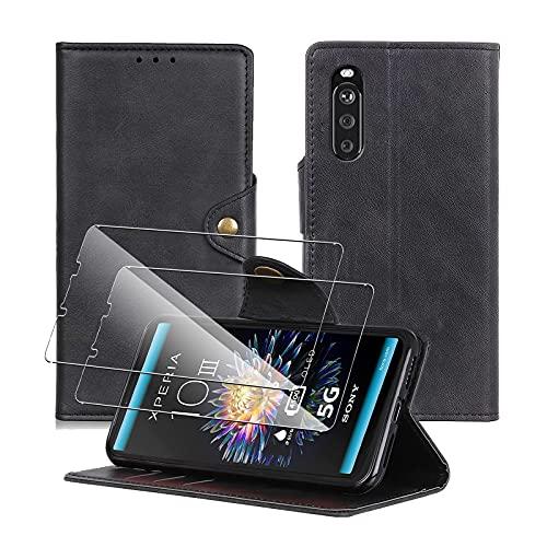 Aerku Coque pour Sony Xperia 10 III 5G avec 2 Verre trempé Protection écran, Etui Housse Premium en Cuir PU [Béquille] [Fentes pour Cartes] [Fermeture Magnétique][Flip Case] Pochette Protection-Noir