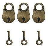 Kuinayouyi 3pzs Candados de arcaizar cabeza de oso estilo antiguo vintage Cerradura de llave con llaves Bronce