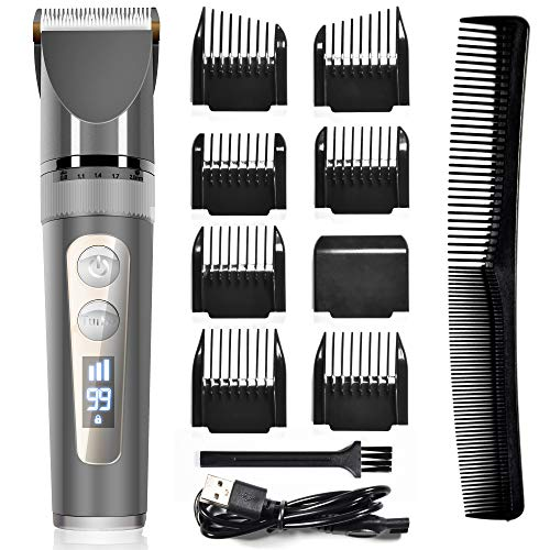 Hair Clippers - Professional Hair Clippers for Men, Cordless Hair Cutting Kit with Ceramic Blades & LED Display, 200 Minutes Run Time, 3 Speed Adjustment, 8 Guide Combs for Stylish, Great Gift
