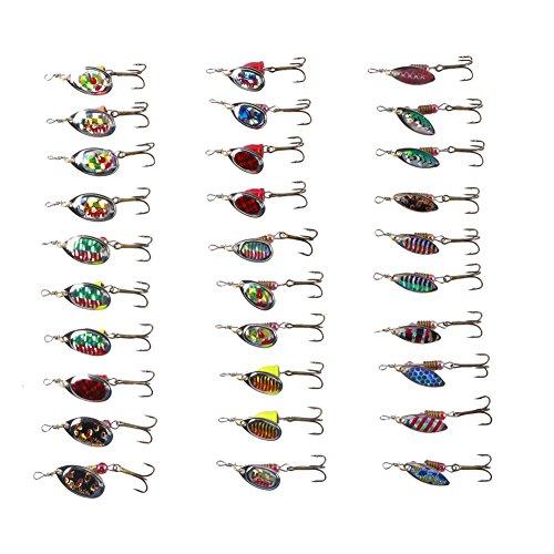 Free Fisher Herren 30 Teilig Blinker und Spinner Sortiment für Hecht Barsch Zander