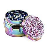 PILOTDIARY Pink Herb Grinder with Pollen Catcher 4 Piece 2' Glitter Series Spice Grinder Premium Aluminum, Titanium Blue