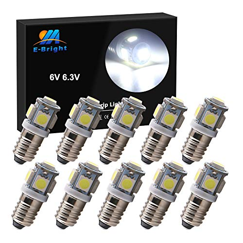 EverBright White E10 Led Bulb Flashlight Bulbs 1447 1446 1449 Screw Bulb Replacement for Torch Flashlight Toy Car Bicycle Headlight, 5050 Chipsets, DC 6V 6.3V, Pack of 10