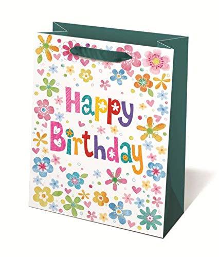 Idena 30246 - Geschenktasche Happy Birthday, 25 x 8,5 x 34,5 cm, Blumen, Tragetasche, Geschenk, Geschenkverpackung, Geschenktüte