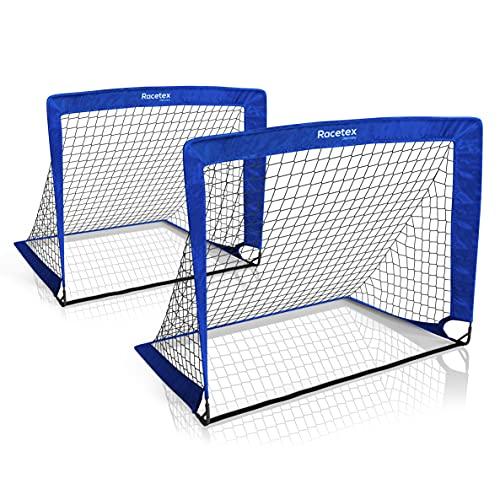 Racetex Set di 2 porte da calcio per bambini, con borsa utile per il trasporto, versione con aste in fibra di vetro rinforzate, porte da calcio per il giardino o il parco