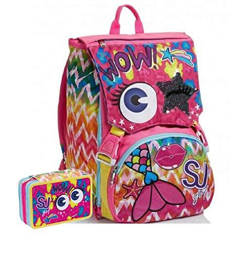 Schoolpack Zaino Seven SJ Gang Facce Girl Wow Estensibile + Astuccio 3 Zip Completo