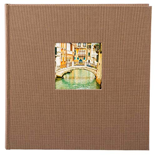 goldbuch Fotoalbum mit Fensterausschnitt, Bella Vista Trend 2, 30 x 31 cm, 60 weiße Seiten mit Pergamin-Trennblättern, Leinen, Coffee Bronze, 27716