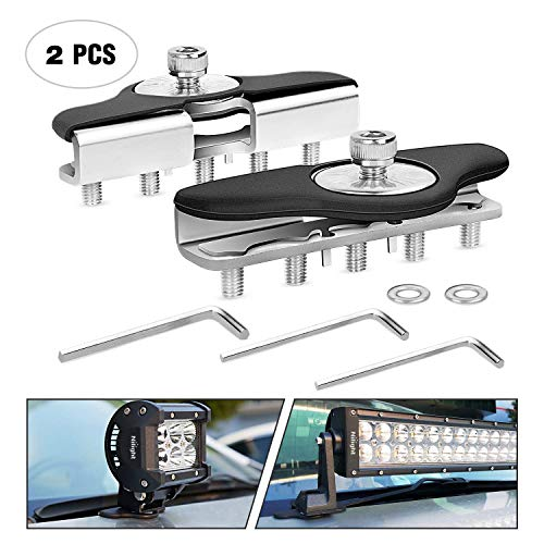 Led Light Bar Mounting Brackets,Nilight 2pcs Universal Hood Led Work Light Bar Mount Bracket Clamp Holder for Jeep Truck Off Road Installed No Need Drilling, Type 2 (NI90025B)