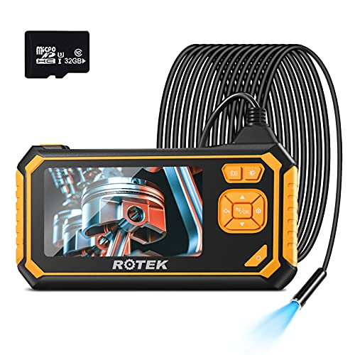 Industrial Endoscope,ROTEK 1080P HD 4.3inch LCD Screen 2600mAh Rechargeable Battery Borescope, IP67...