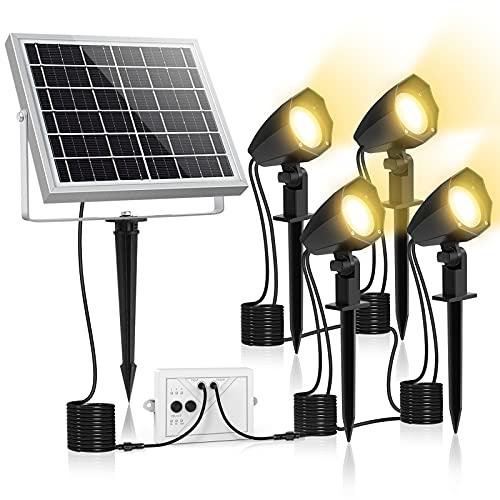 MEIHUA Solar Strahler 4 Stück Solar Gartenleuchte IP66 Wasserdichte, Solarlampen für außen mit Erdspieß, 3 Farbtemperatur einstellbar 2700K/4000K/6000K, für Gärten, Sträucher und Bäume