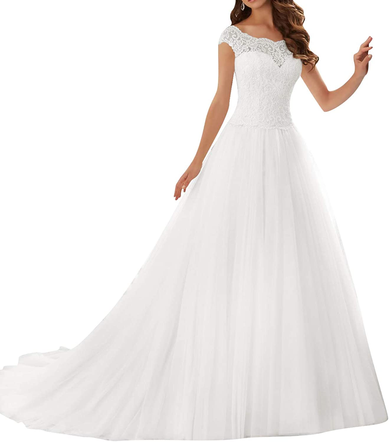 Wedding Dress Lace Bride Dresses Cap Sleeves Wedding Gown Tulle Bridal Gowns with Train