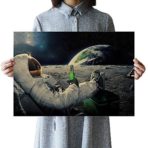 MHHDD Klassische Weltraum Erde Astronauten Bier Trinken einfach Mond Landung Fantasy Poster Home Dekoration Wandaufkleber-rahmenlos-50x70cm