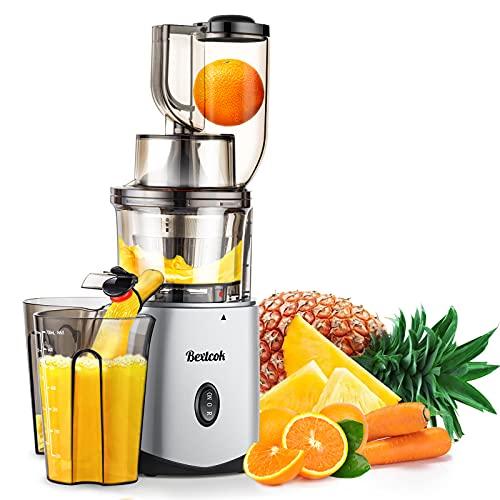 Licuadora Prensado en Frio, Bextcok Licuadoras para Verduras y Frutas Slow Juicer Exprimidor Automatico Extractor de Zumos Jugos con Función inversa, Libre de BPA