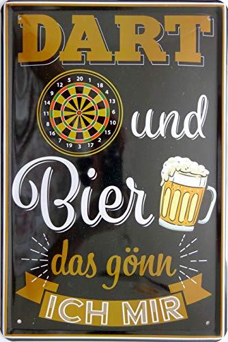 vielesguenstig-2013 Blechschild Schild - Dart und Bier gönn ich Mir Bar Kneipe Spiel Sport
