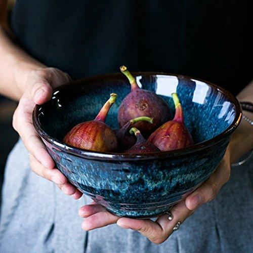 GaoF Vajilla Creativa tazón de Fideos con patrón de Pavo Real tazón de Ensalada de Estilo Europeo tazón de arroz tazón de Ramen de cerámica para Sopa casera