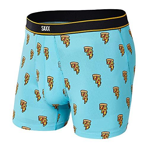SAXX Underwear Men's Boxer Briefs - DAYTRIPPER Men's Underwear - Boxer Briefs with Built-In BallPark Pouch Support, Blue Pizza Bolt, Large