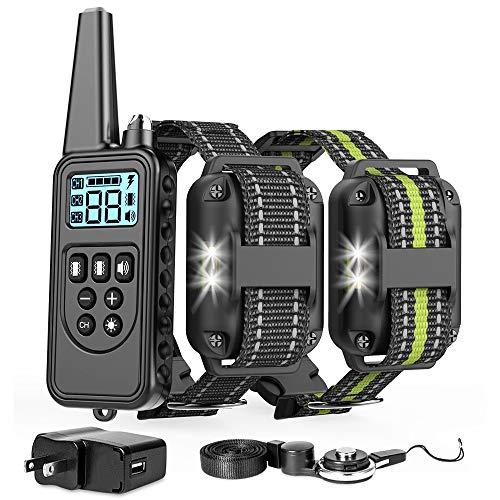 GSlife No Shock Hunde-Trainings-Halsband, sicheres, wasserdichtes Hunde-Trainingshalsband mit Fernbedienung, Reichweite ca. 200 m, wiederaufladbar, für 2 Hunde mit Piepton-Vibrationsmodus