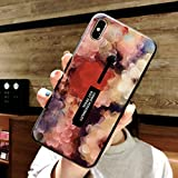 Omio for iPhone XS Case Oil Painting Flower Petal Cute Loop Case Cover with Finger Strap Ring Holder Grip Stand Fashion Bumper Case for iPhone XS X 10