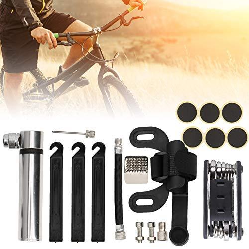 Okuyonic Juego de Parches para reparación de infladores, Bomba de Bicicleta portátil para Montar en senderos para competencias de Entrenamiento(Silver)