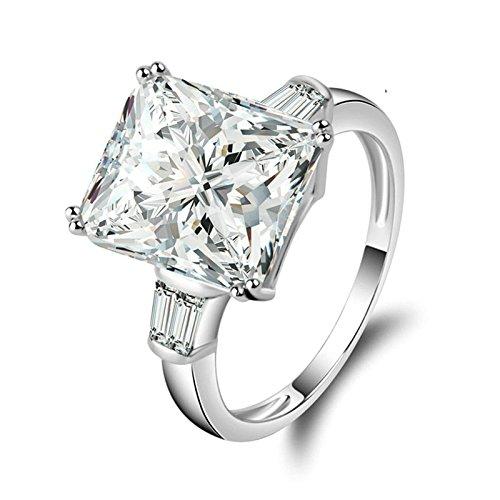 Beydodo Anelli Donna Argento Fidanzamento Anelli Matrimonio Argento con Smeraldo Brillante Diamante Taglia 10-27