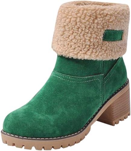 Fuxitoggo botas de mujer, plataforma de Forro de Piel cálida de Invierno Pliegue Corto Botín Vintage Flock Casual Tacón Alto zapatos Martin Moda para mujer Tubo Ajustable botas para la Nieve de tacón