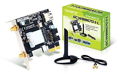 Gigabyte GC-WB867D-I-L Low Profile REV 4.2 Bluetooth 4.2/Wireless AC/B/G/N Band Dual Frequency 2.4Ghz/5.8Ghz Expansion Card, 2 x 2 Tx/Rx, 1x PCIe Windows 7, 8, 10 Compatible Low Profile Chassis ONLY