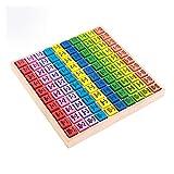 Sipobuy Juguetes de Madera Cien Tablero Montessori Math 10x10 Bandeja de Mesa de Tiempos con respuestas Juego Educativo para niños