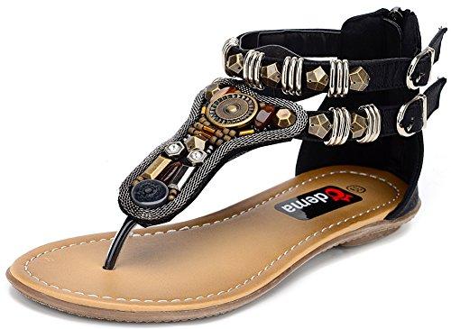 Odema Womens Summer Flat Sandals Bohemian Beads Coin Back Zip Thong Dressy Sandals Size 4.5-9 Black