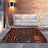GLF Nursery Rug Aboriginal Style Patterns Tribal Motifs and Objects Collage of Cave Pictures Print Orange Super Soft & Cozy Rugs for Dining Room Bedroom, 92x153 cm