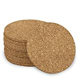 """Adhesive Backed Cork w/Radius Corners for Coasters, Trivets and Art Projects – 1/16"""" Thick x 4' Diameter (100 PC)"""