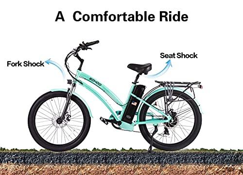 SOHOO 48V500W13Ah 26' Beach Cruiser Step-Thru Electric Bicycle City E-Bike Mountain Electric Bike (Green)