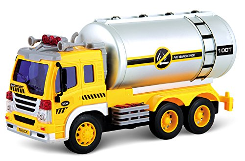 PowerTRC Friction Powered Oil Tanker Truck Toy | Push and Go Truck | Lights and Sound