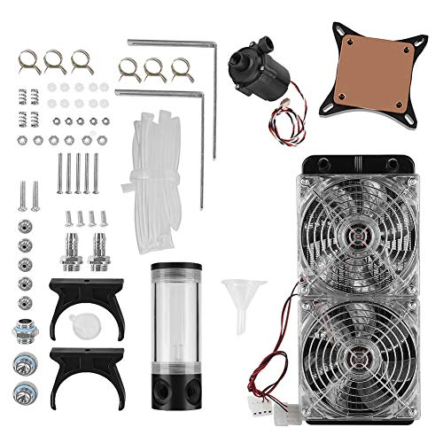 Computer Waterkoeling Kit, DIY Desktop PC Computer Waterkoeling Koeler Radiator met waterpomp + GPU watergekoeld + Dubbele LED-ventilator voor Computer PC.
