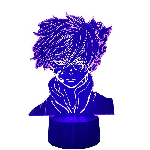 Anime My Hero Academia Shoto Todoroki lâmpada de LED noturna para decoração de quarto presente de aniversário Shoto Todoroki lâmpada 3D My Hero Academia