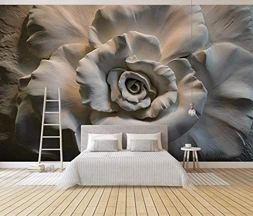 Fototapete 3D Effekt Tapete Rose Geprägte Blumen Vliestapete 3D Tapeten Moderne Wanddeko Wandbilder Wohnzimmer