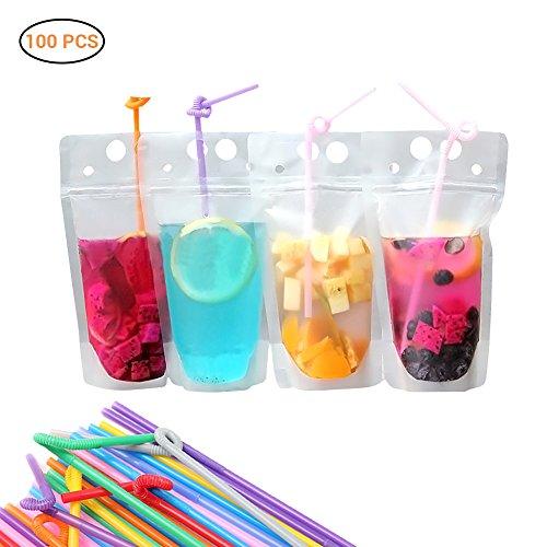 AimdonR 100 Stück Reißverschluss Plastiktüten Getränkebeutel, 100 Stück Strohhalme & Trichter enthalten BPA frei,Geeignet für heiße oder kalte Getränke.