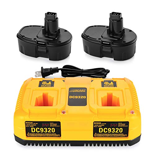 ANTRobut 2Pack 3.5Ah 18V Battery Replacement for Dewalt 18V Battery XRP DC9096 DC9098 DC9099 DW9096 DW9098 DC9182 + 7.2V-18V Dual Port Battery Charger DC9320