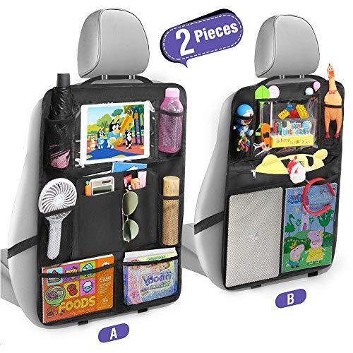 Tsumbay Auto Rückenlehnenschutz (2 Stück) Trittschutz mit Rücksitz-Organizer Rücksitzschoner, Organizer mit vielen Sack für Autositz, Durchsichtigem iPad-Tablet-Halter