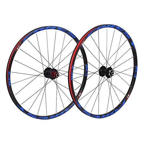 YOOXI Juego de Ruedas de La Bici de MTB, Juego de Ruedas de La Bicicleta de La Montaña del Freno de Disco de La Aleación de Aluminio de La Pared Doble (Color : 26in)