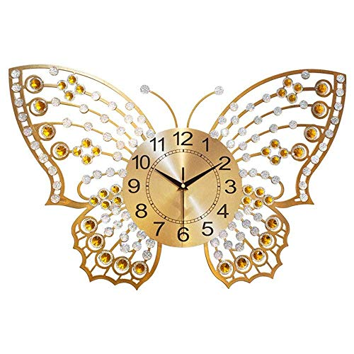 Wall Clocks for Living Room, Decorative Wall Clock Large Butterfly Metal Crystal Mute Wall Home for Living Room Decor