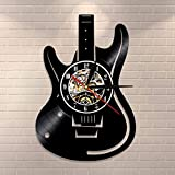 Reloj de pared para guitarrista vintage de vinilo de pared Rock n Roll Music Lover Studio Wall Art Decor Guitarristas regalo