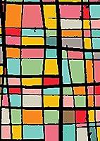 igsticker ポスター ウォールステッカー シール式ステッカー 飾り 1030×1456㎜ B0 写真 フォト 壁 インテリア おしゃれ 剥がせる wall sticker poster 008167 チェック・ボーダー カラフル レインボー 模様